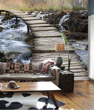 Murales paisajes puente de madera for Fotomurales pared paisajes