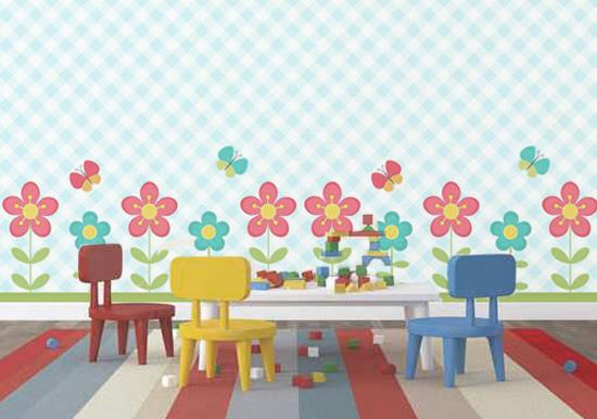Murales infantiles juveniles campo de flores for Fotomurales infantiles