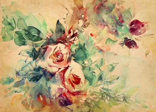Murales Flores, floral Acuarela sobre pergamino: Rosas